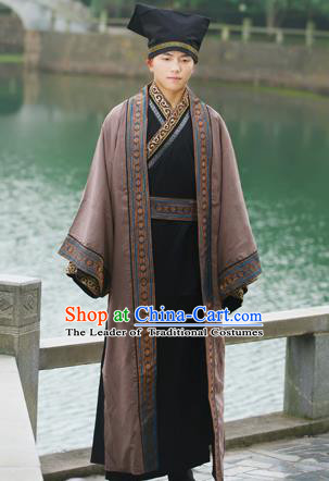 Traditional Ancient Chinese Imperial Emperor Costume, Chinese Han Dynasty Official Uniforms, Cosplay Chinese Minister Teacher Clothing Complete Set for Men
