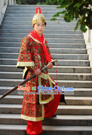 Traditional Ancient Chinese Imperial Soldier Costume, Chinese Han Dynasty Imperial Bodyguard Uniforms, Cosplay Chinese Minister General Armour Clothing Complete Set for Men