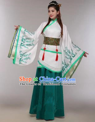 Traditional Ancient Chinese Imperial Emperess Costume, Chinese Han Dynasty Princess Dress, Cosplay Chinese Peri Concubine Embroidered Green Hanfu Clothing for Women