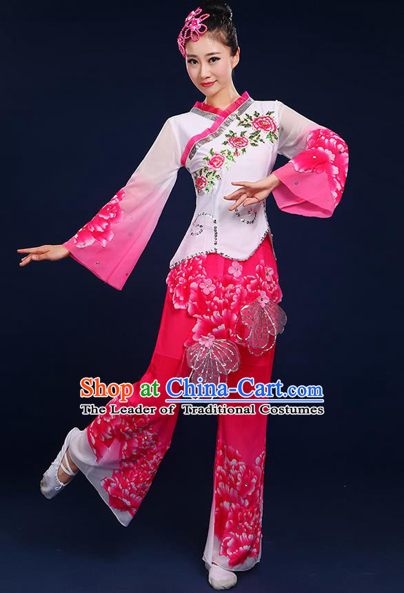 Traditional Chinese Yangge Fan Dancing Costume, Folk Dance Yangko Mandarin Sleeve Peony Painting Blouse and Pants Uniforms, Classic Umbrella Dance Elegant Dress Drum Dance Pink Clothing for Women