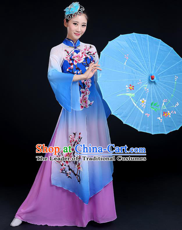 Traditional Chinese Yangge Fan Dancing Costume, Folk Dance Yangko Gradient Water Sleeve Embroider Plum Blossom Uniforms, Classic Umbrella Dance Elegant Dress Drum Dance Blue Clothing for Women