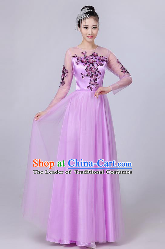 Traditional Chinese Modern Dancing Compere Costume, Women Opening Classic Dance Chorus Singing Group Bubble Embroidered Uniforms, Modern Dance Classic Dance Big Swing Purple Long Dress for Women