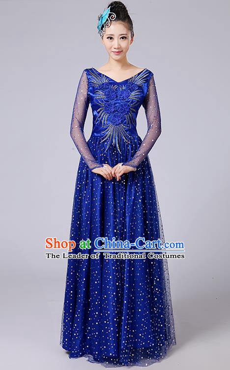 Traditional Chinese Modern Dancing Compere Costume, Women Opening Classic Dance Chorus Singing Group Bubble Uniforms, Modern Dance Classic Dance Big Swing Blue Long Dress for Women