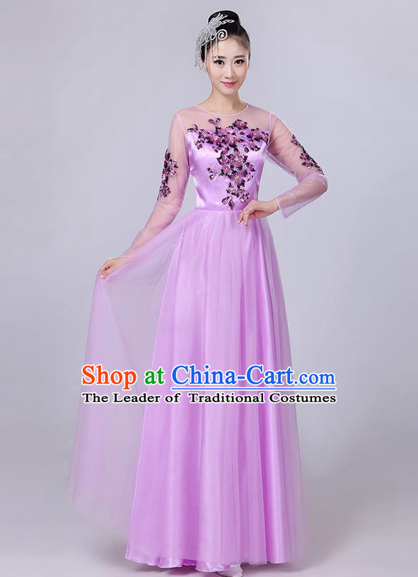 Traditional Chinese Modern Dancing Compere Costume, Women Opening Classic Dance Chorus Singing Group Paillette Flowers Bubble Uniforms, Modern Dance Classic Dance Big Swing Purple Long Dress for Women