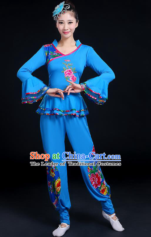 Traditional Chinese Yangge Fan Dancing Costume, Folk Dance Yangko Mandarin Sleeve Embroidery Peony Blouse and Pants Uniforms, Classic Dance Elegant Dress Drum Dance Blue Clothing for Women
