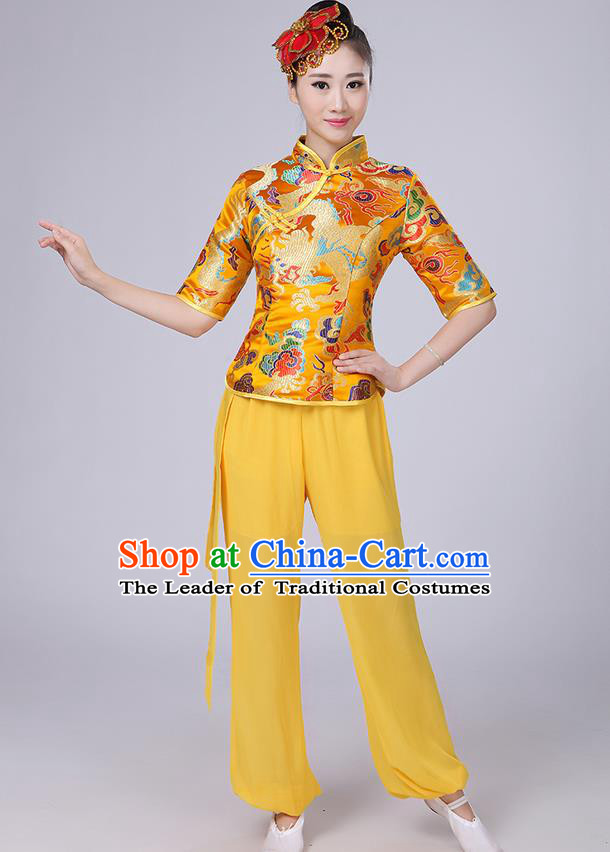 Traditional Chinese Yangge Fan Dancing Costume, Folk Dance Yangko Mandarin Collar Satin Dragon Blouse and Pants Uniforms, Classic Dance Elegant Dress Drum Dance Gold Clothing for Women
