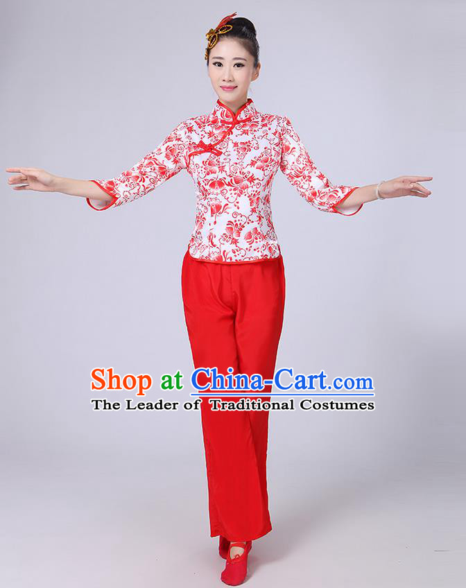 Traditional Chinese Yangge Fan Dancing Costume, Folk Dance Yangko Mandarin Collar Blue and White Porcelain Blouse and Pants Uniforms, Classic Dance Elegant Dress Drum Dance Red Clothing for Women