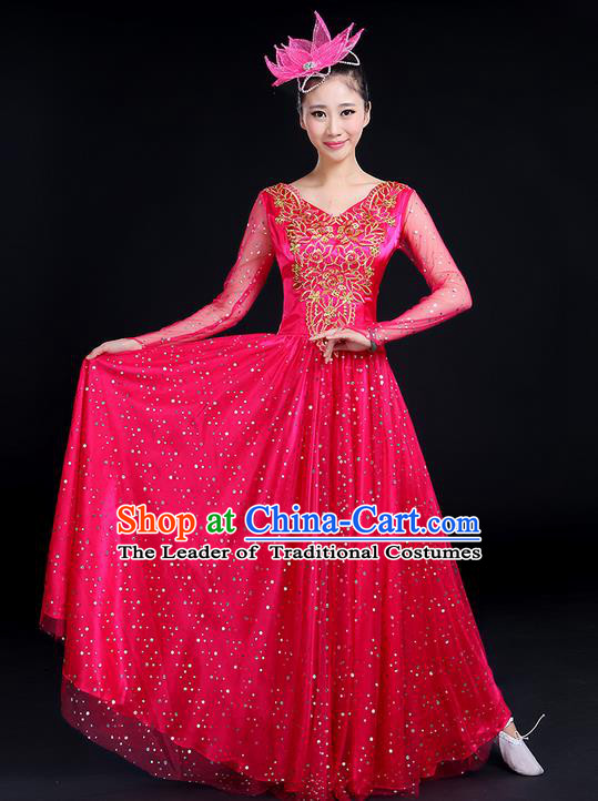 Traditional Chinese Modern Dancing Compere Costume, Women Opening Classic Dance Chorus Singing Group Bubble Gilding Uniforms, Modern Dance Classic Dance Big Swing Pink Long Dress for Women