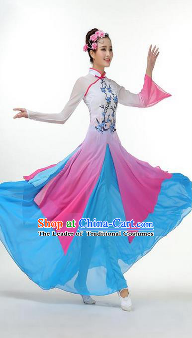 Traditional Chinese Yangge Fan Dancing Costume, Folk Dance Yangko Mandarin Sleeve Painting Plum Blossom Uniforms, Classic Dance Elegant Big Swing Dress Drum Dance Blue Clothing for Women
