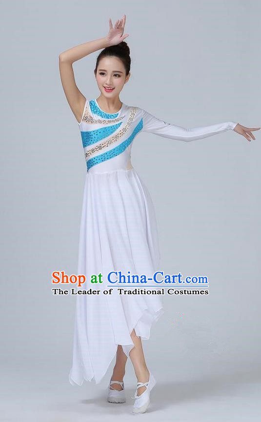 Traditional Modern Dancing Compere Costume, Women Opening Classic Chorus Singing Group Dance Dress, Modern Dance Classic Lotus Dance Paillette Dress for Women