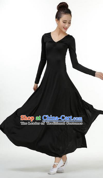 Traditional Modern Dancing Compere Costume, Women Opening Classic Chorus Singing Group Dance Dress, Modern Dance Classic Dance Black Dress for Women
