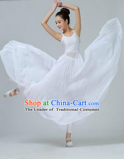 Traditional Modern Dancing Compere Costume, Women Opening Classic Chorus Singing Group Dance Dress, Modern Dance Classic Dance White Dress for Women