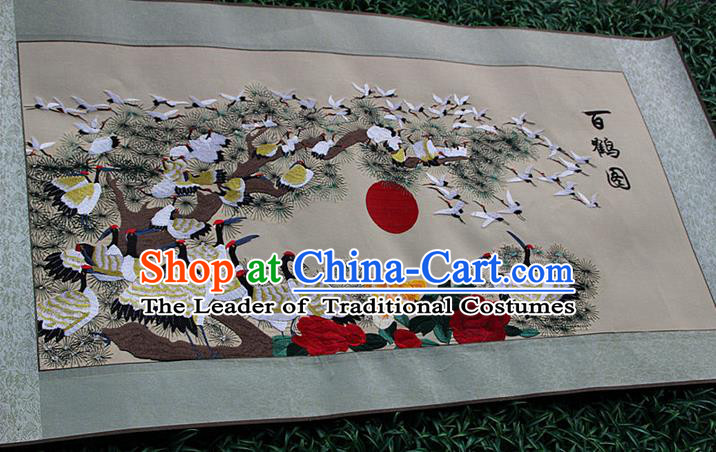 Traditional Chinese Miao Nationality Minority Crafts Hmong Xiangxi Embroidery Decorative Paintings, Embroidery Crane Figure Scroll Painting for Friends