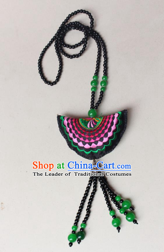 Traditional Chinese Miao Nationality Crafts Jewelry Accessory, Hmong Handmade Green Beads Tassel Double Side Embroidery Fan Pendant, Miao Ethnic Minority Necklace Accessories Sweater Chain Pendant for Women