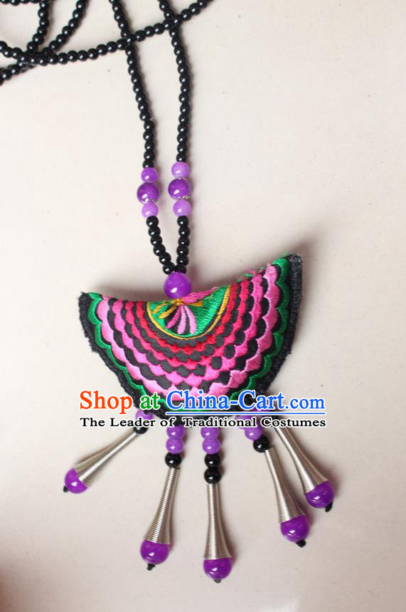 Traditional Chinese Miao Nationality Crafts Jewelry Accessory, Hmong Handmade Red Beads Tassel Double Side Embroidery Fan Pendant, Miao Ethnic Minority Necklace Accessories Sweater Chain Pendant for Women
