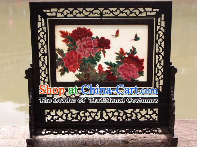 Traditional Chinese Miao Nationality Minority Crafts Hmong Xiangxi Embroidery Decorative Table Ornaments, Embroidery Peony Folding Screen