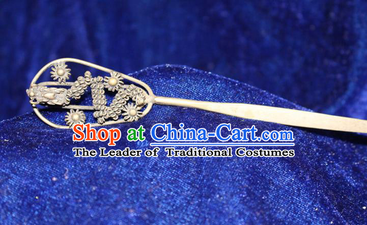 Traditional Chinese Miao Nationality Crafts Jewelry Accessory Hair Accessories, Hmong Handmade Miao Silver Dragon Palace Lady Hair Sticks Hair Claw, Miao Ethnic Minority Hair Fascinators Hairpins for Women