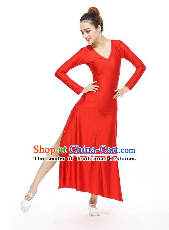 Traditional Modern Dancing Compere Costume, Women Opening Classic Chorus Singing Group Dance Dress, Modern Dance Classic Ballet Dance Red Dress for Women