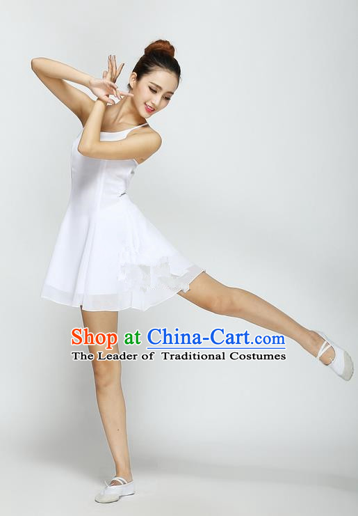 Traditional Modern Dancing Compere Costume, Women Opening Classic Chorus Singing Group Dance Dress, Modern Dance Classic Ballet Dance White Big Swing Short Dress for Women