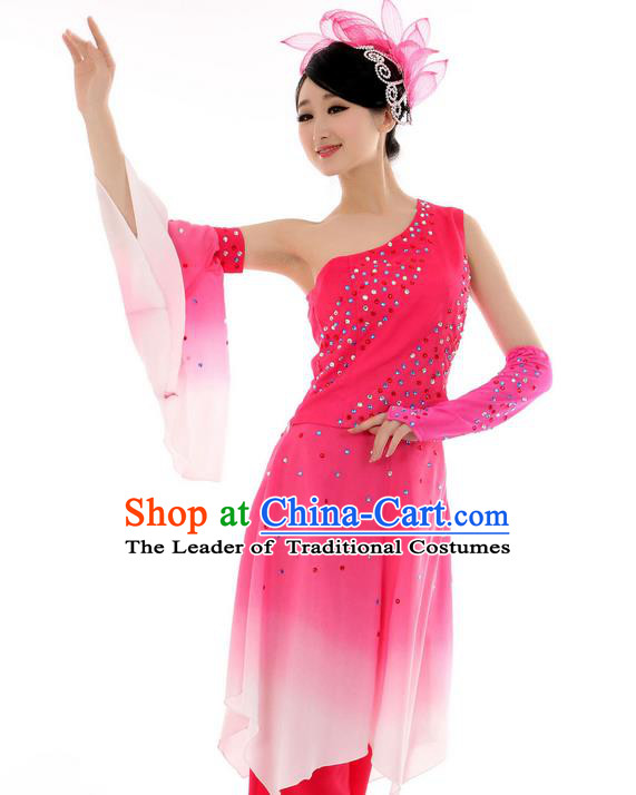 Traditional Chinese Yangge Fan Dancing Costume, Folk Dance Yangko Mandarin Sleeve Blouse and Pants Uniforms, Classic Umbrella Dance Elegant Dress Drum Dance Pink Clothing for Women