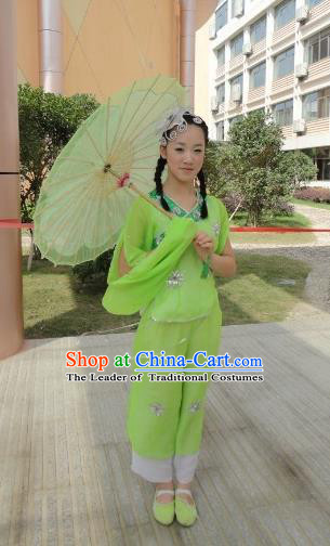 Traditional Chinese Ancient Yangge Fan Dancing Costume, Folk Dance Wide Sleeve Jasmine Uniforms, Classic Flying Dance Elegant Fairy Dress Drum Palace Lady Dance Clothing for Women
