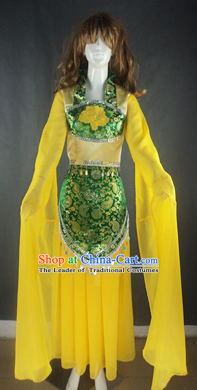 Traditional Chinese Ancient Yangge Fan Dancing Costume, Folk Dance Water Sleeve Uniforms, Classic Tang Dynasty Flying Dance Elegant Fairy Dress Drum Palace Dance Yellow Clothing for Women