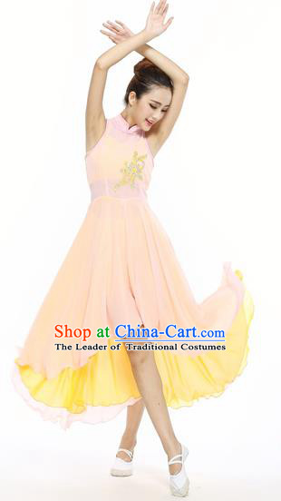 Traditional Modern Dancing Compere Costume, Women Opening Classic Chorus Singing Group Dance Dress, Modern Dance Classic Ballet Dance Paillette Yellow Dress for Women