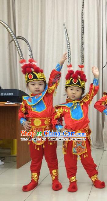 Traditional Chinese Peking Opera KnifeHorseDawn Costume and Hat Complete Set, Chinese Swordsman Children Uniforms, Classic Dance Elegant Dress Drum Dance Red Clothing for Kids