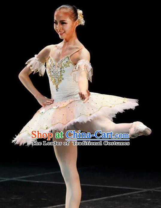 Traditional Modern Dancing Compere Costume, Opening Classic Chorus Singing Group Dance Bubble Dress Tu Tu Dancewear, Modern Dance Classic Ballet Dance White Veil Dress for Women