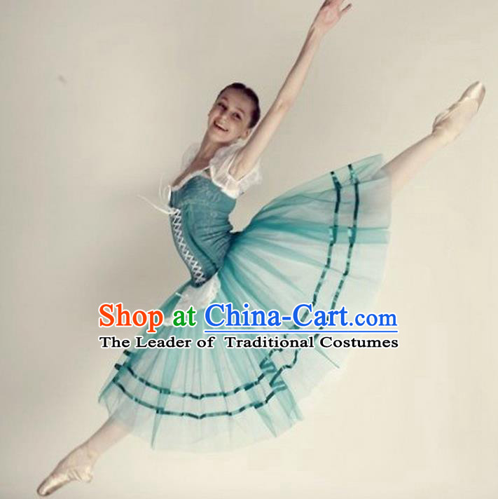 Traditional Modern Dancing Compere Costume, Opening Classic Chorus Singing Group Dance Bubble Dress Tu Tu Dancewear, Modern Dance Classic Ballet Dance Blue Elegant Dress for Women