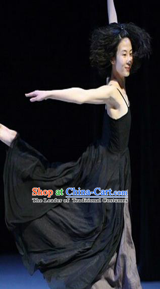 Traditional Modern Dancing Compere Costume, Opening Classic Chorus Singing Group Dance Dress Tu Tu Dancewear, Modern Dance Classic Ballet Dance Black Elegant Dress for Women