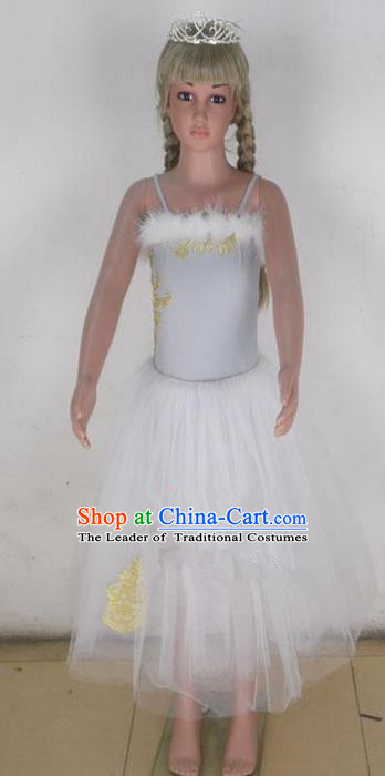 Traditional Modern Dancing Compere Costume,Children Opening Classic Chorus Singing Group Dance Bubble Dress Tu Tu Dancewear, Modern Dance Classic Ballet Dance Elegant Dress for Kids