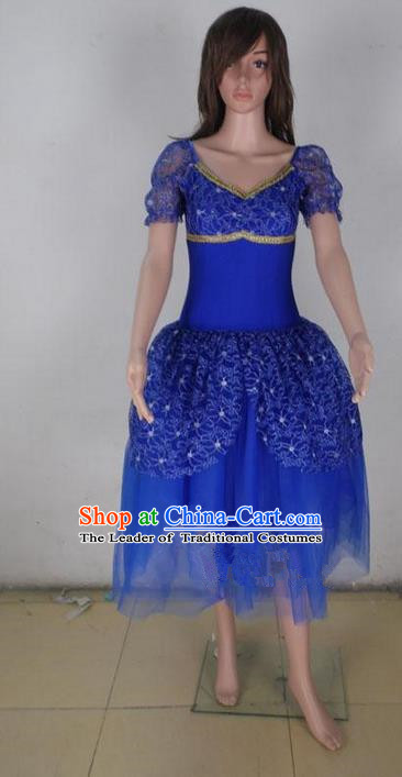 Traditional Modern Dancing Compere Costume, Female Opening Classic Chorus Singing Group Dance Blue Bubble Dress Tu Tu Dancewear, Modern Dance Classic Ballet Dance Elegant Dress for Women