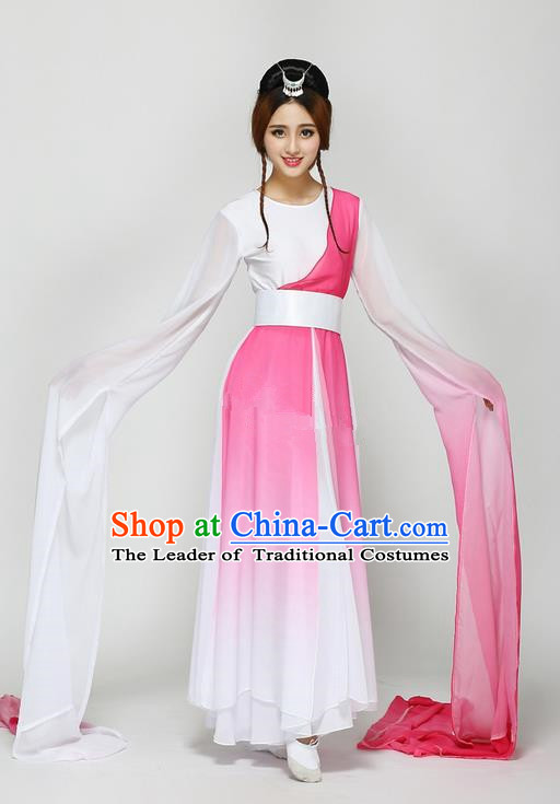 Traditional Chinese Ancient Yangge Fan Dancing Costume, Folk Dance Long Water Sleeve Dance Uniforms, Classic Tang Dynasty Flying Dance Elegant Fairy Dress Drum Palace Dance Pink Clothing for Women