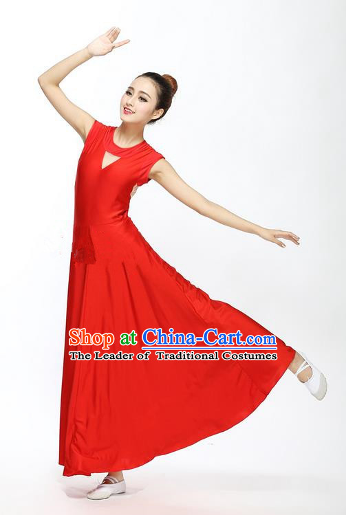 Traditional Modern Dancing Compere Costume, Female Opening Classic Chorus Singing Group Dance Blue Bell Dress Tu Tu Dancewear, Modern Dance Classic Ballet Dance Elegant Red Dress for Women