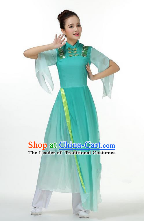 Traditional Chinese Yangge Fan Dancing Costume, Folk Dance Yangko Mandarin Sleeve Dress and Pants Butterfly Uniforms, Classic Lotus Dance Elegant Dress Drum Dance Green Clothing for Women