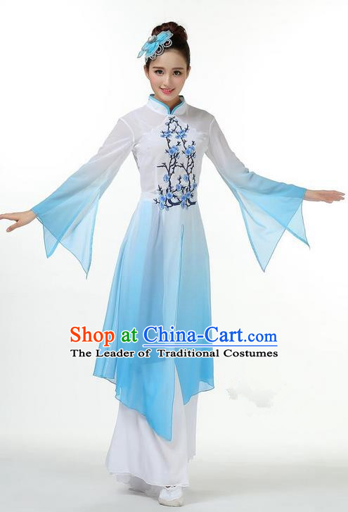 Traditional Chinese Yangge Fan Dancing Costume, Folk Dance Yangko Mandarin Sleeve Dress and Pants Plum Blossom Uniforms, Classic Umbrella Dance Elegant Dress Drum Dance Blue Clothing for Women