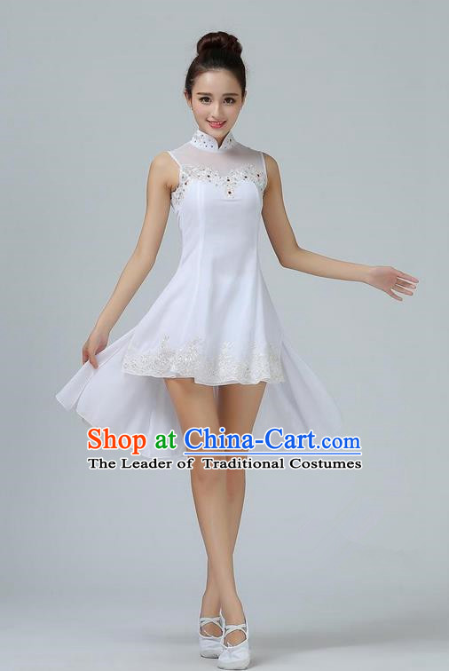 Traditional Modern Dancing Costume, Opening Classic Chorus Singing Group Dance White Dress, Modern Dance Classic Ballet Dance Latin Dance Dress for Women