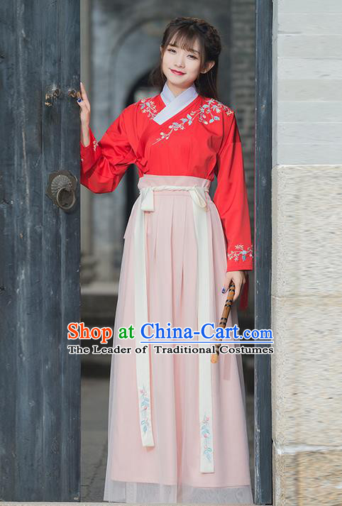 Traditional Ancient Chinese Ancient Costume, Elegant Hanfu Clothing Embroidered Dress, China Ming Dynasty Blouse and Skirt Complete Set for Women