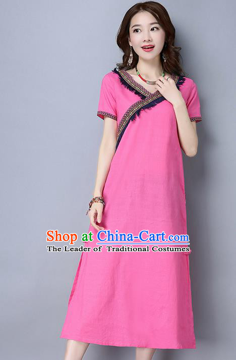 Traditional Ancient Chinese National Costume, Elegant Hanfu Dress, China Tang Suit Cheongsam Upper Outer Garment Pink Dress Clothing for Women