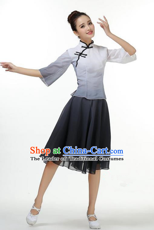 Traditional Modern Dancing Costume, Opening Classic Chorus Singing Group Dance Big Swing Black Short Cheongsam Silk Dress, Modern Dance Classic Ballet Dance Latin Dance Dress for Women