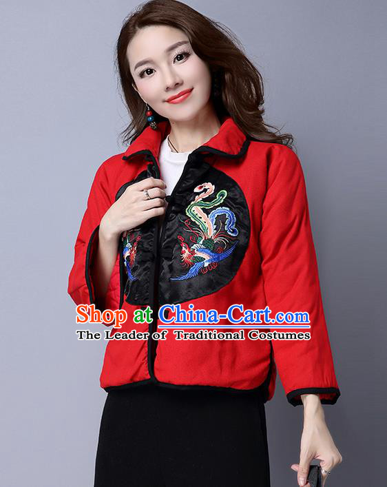 Traditional Ancient Chinese National Costume, Elegant Hanfu Coat, China Tang Suit Stand Collar Cotton-Padded Coat, Upper Outer Garment Embroidered Phoenix Red Jacket Clothing for Women