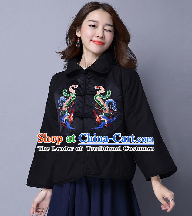 Traditional Ancient Chinese National Costume, Elegant Hanfu Coat, China Tang Suit Stand Collar Cotton-Padded Coat, Upper Outer Garment Embroidered Phoenix Black Jacket Clothing for Women