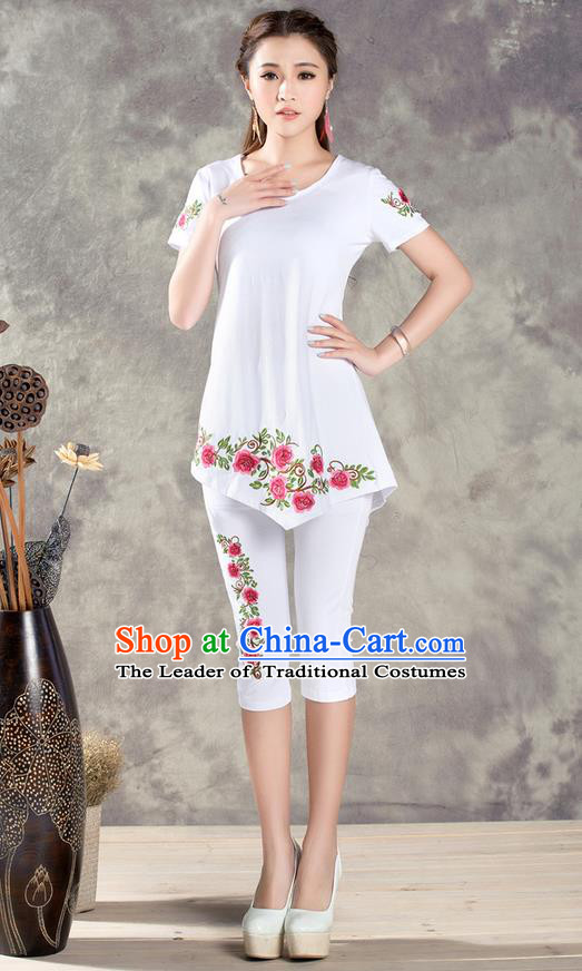Traditional Ancient Chinese National Costume, Elegant Hanfu Embroidered T-Shirt and Pants, China Tang Suit Embroidered White Blouse Cheongsam Upper Outer Garment Clothing for Women