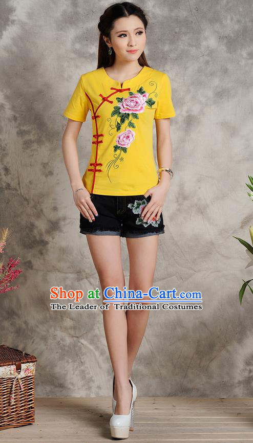 Traditional Ancient Chinese National Costume, Elegant Hanfu Plated Buttons T-Shirt, China Tang Suit Embroidered Peony Yellow Blouse Cheongsam Upper Outer Garment Shirts Clothing for Women
