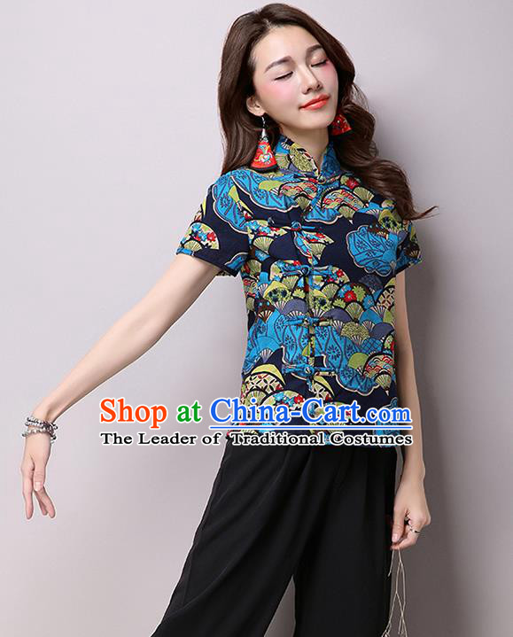 Traditional Ancient Chinese National Costume, Elegant Hanfu Plated Buttons Short Sleeve Shirt, China Tang Suit Embroidered Blue Blouse Cheongsam Upper Outer Garment Shirts Clothing for Women
