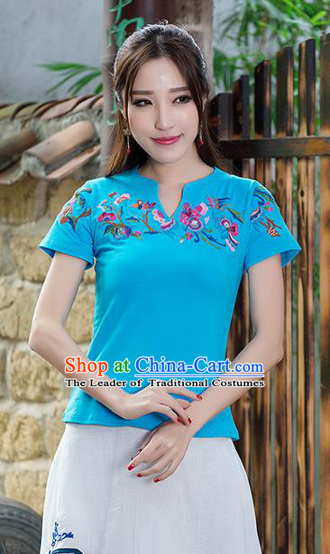 Traditional Ancient Chinese National Costume, Elegant Hanfu Short Sleeve T-Shirt, China Tang Suit Embroidered Navy Blouse Cheongsam Upper Outer Garment Shirts Clothing for Women