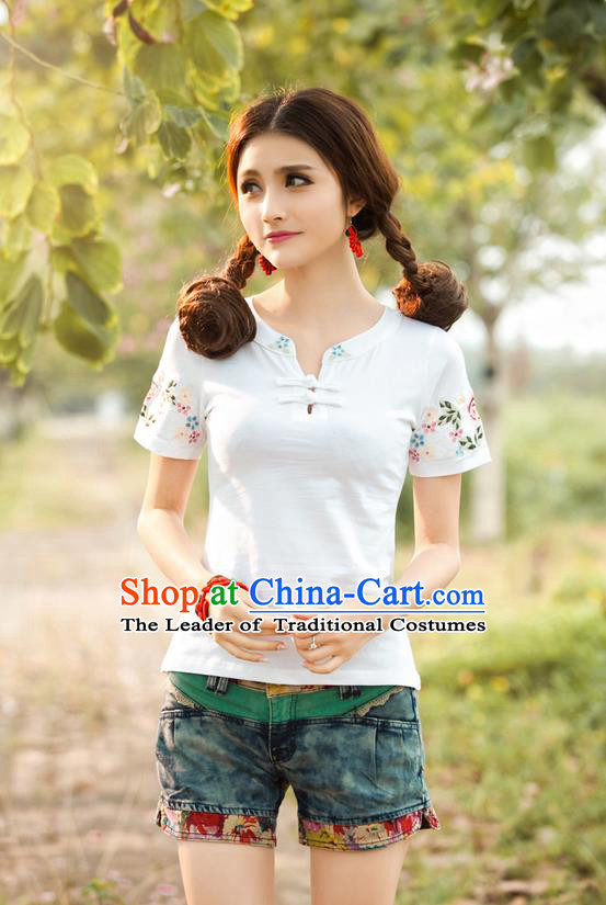 Traditional Ancient Chinese National Costume, Elegant Hanfu Short Sleeve Round Collar T-Shirt, China Tang Suit Embroidered White Blouse Cheongsam Upper Outer Garment Shirts Clothing for Women