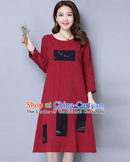 Traditional Ancient Chinese National Costume, Elegant Hanfu Hand Printing Linen Dress, China Tang Suit Cheongsam Upper Outer Garment Red Elegant Dress Clothing for Women