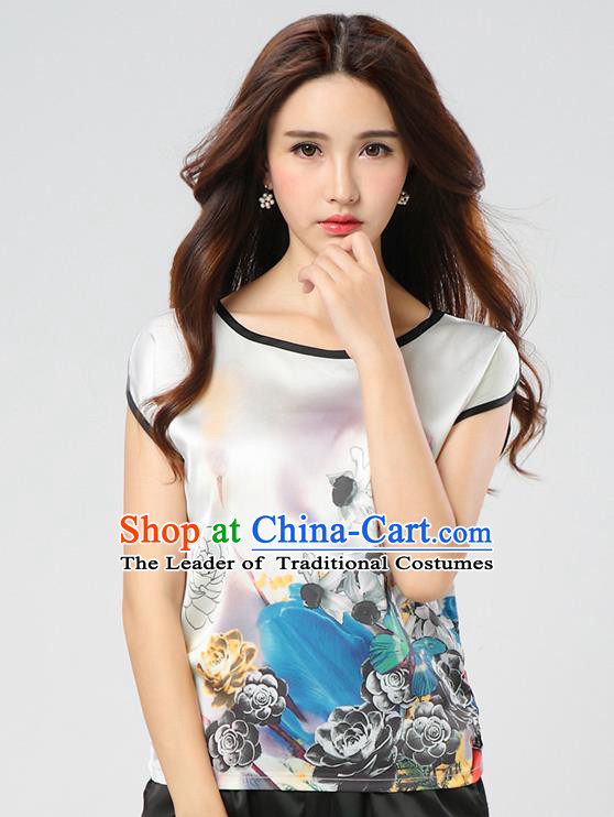 Traditional Ancient Chinese National Costume, Elegant Hanfu Mulberry Silk Shirt, China Tang Suit Silk Printing Flowers White Blouse Cheongsam Upper Outer Garment Qipao Shirt Clothing for Women